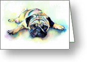 Tan Greeting Cards - Pug Laying Flat Greeting Card by Christy  Freeman