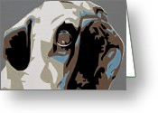 Contemporary Dog Portraits Greeting Cards - Pug Greeting Card by Slade Roberts
