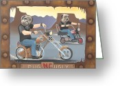 Bike Riding Greeting Cards - Pug Ugly M.C. Greeting Card by Stuart Swartz