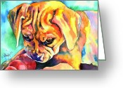 Beagle Greeting Cards - Puggle Playtime Greeting Card by Christy  Freeman