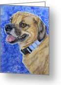 Dog Prints Greeting Cards - Puggle Greeting Card by Tracy Ellis-Maxwell