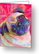 Dogs Digital Art Greeting Cards - Pugsly Greeting Card by Karen Derrico