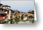Travel Greeting Cards - Puhuitang River Bridge Qibao - Shanghai China Greeting Card by Christine Till