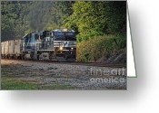 Railroad Tracks Greeting Cards - Pulling Coal Greeting Card by Pamela Baker