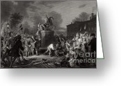Independence Park Greeting Cards - Pulling Down Statue Of George Iii, Nyc Greeting Card by Photo Researchers