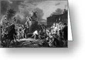 4th July Drawings Greeting Cards - Pulling down the statue of George III Greeting Card by War Is Hell Store