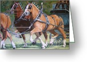 Driving Team Greeting Cards - Pulling Power Greeting Card by Anda Kett