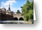 Ancient People Greeting Cards - Pulteney bridge and weir Greeting Card by Jane Rix