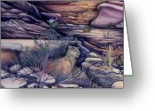 Spirit Rising Greeting Cards - Puma in the Desert Greeting Card by Sevan Thometz