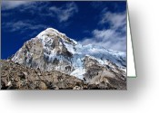 Camp Greeting Cards - Pumori-everest Base Camp Trek-nepal Greeting Card by Copyright Michael Mellinger