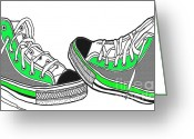 Converse Greeting Cards - Pumped Up Kicks Greeting Card by Cheryl Young