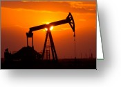 Pollute Greeting Cards - Pumping Oil Rig At Sunset Greeting Card by Connie Cooper-Edwards