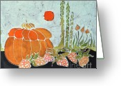 Vegetables Tapestries - Textiles Greeting Cards - Pumpkin and Asparagus Greeting Card by Carol  Law Conklin