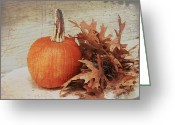 Brown Leaves Greeting Cards - Pumpkin and leaves Greeting Card by Toni Hopper