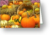 Wicker Baskets Greeting Cards - Pumpkin Harvest in the Countryside Greeting Card by Chantal PhotoPix