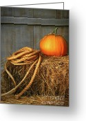 Pumpkin Farm Greeting Cards - Pumpkin on a bale of hay Greeting Card by Sandra Cunningham