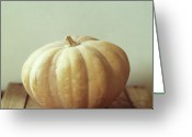 Israel Greeting Cards - Pumpkin On Wooden Table Greeting Card by Copyright Anna Nemoy(Xaomena)