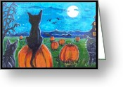Haunted House Print Greeting Cards - Pumpkin Patch Cats Greeting Card by Paintings by Gretzky
