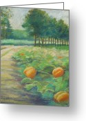 Autumn Landscape Pastels Greeting Cards - Pumpkin Patch Greeting Card by Leslie Alfred McGrath