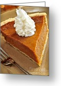 Slice Greeting Cards - Pumpkin pie Greeting Card by Elena Elisseeva