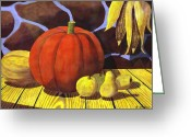 Melon Greeting Cards - Pumpkin Still Life - Homage to Jon Gnagy Greeting Card by Brian Wallace