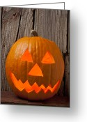 Trick Greeting Cards - Pumpkin with wicked smile Greeting Card by Garry Gay