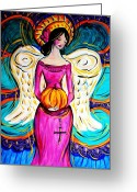 Paula Shaughnessy Greeting Cards - Pumpkin9 Greeting Card by Paula Shaughnessy