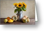 Size Different Greeting Cards - Pumpkins and Sunflowers Greeting Card by Nailia Schwarz