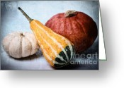 Round Mixed Media Greeting Cards - Pumpkins Greeting Card by Angela Doelling AD DESIGN Photo and PhotoArt