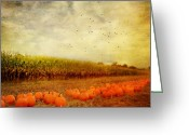 Fall Photographs Greeting Cards - Pumpkins In The Corn Field Greeting Card by Kathy Jennings