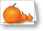 Eat Greeting Cards - Pumpkins with straw on white  Greeting Card by Sandra Cunningham