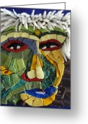 Series Glass Art Greeting Cards - Punk - Fantasy Face No. 18 Greeting Card by Gila Rayberg