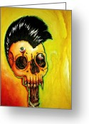 Metallica Painting Greeting Cards - Punk Rock Skull Greeting Card by Elaine Alonzo