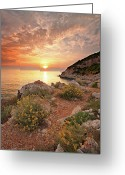 Horizon Over Water Greeting Cards - Punta Rossa Greeting Card by Paolo Corsetti