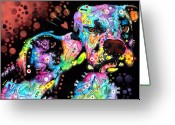 Portrait Painting Greeting Cards - Puppy Love Greeting Card by Dean Russo