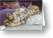 Little Girls Greeting Cards - Puppy Love Greeting Card by Richard De Wolfe