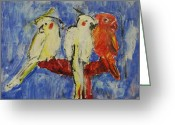 Lovebird Painting Greeting Cards - Pure Greeting Card by Iris Gill
