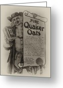 Oatmeal Greeting Cards - Pure Quaker Oates Greeting Card by Bill Cannon