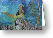 Native American Greeting Cards - Purification Greeting Card by Sundara Fawn