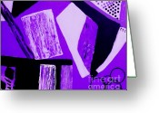 Purples Greeting Cards - Purple Abstract Greeting Card by Marsha Heiken