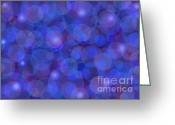 Blue Mixed Media Greeting Cards - Purple And Blue Abstract Greeting Card by Frank Tschakert