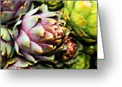 Purple Greeting Cards - Purple Artichokes Greeting Card by Cathie Tyler