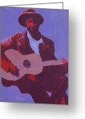 Singer Songwriter Greeting Cards - Purple Blues Greeting Card by Kaaria Mucherera