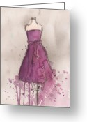 Violet Greeting Cards - Purple Bow Dress Greeting Card by Lauren Maurer