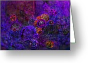Bletila Striata Greeting Cards - Purple Bubbles Painting Greeting Card by Don  Wright