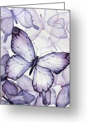 Purple Painting Greeting Cards - Purple Butterflies Greeting Card by Christina Meeusen