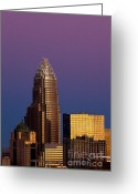 City Scapes Framed Prints Greeting Cards - Purple Charlotte Skyline Greeting Card by Patrick Schneider