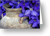 Gallery Art Greeting Cards - Purple Clematis And A Milk Can Greeting Card by James Steele