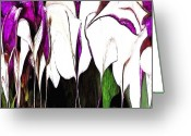 Karen Conine Greeting Cards - Purple Dancers Greeting Card by Karen Conine