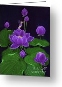 Location Art Greeting Cards - Purple Greeting Card by Desiree Micaela